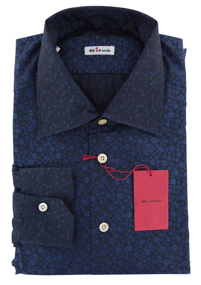 600 Kiton Dark Blau Floral Cotton Shirt - Slim - 16.5 42 - (XT)