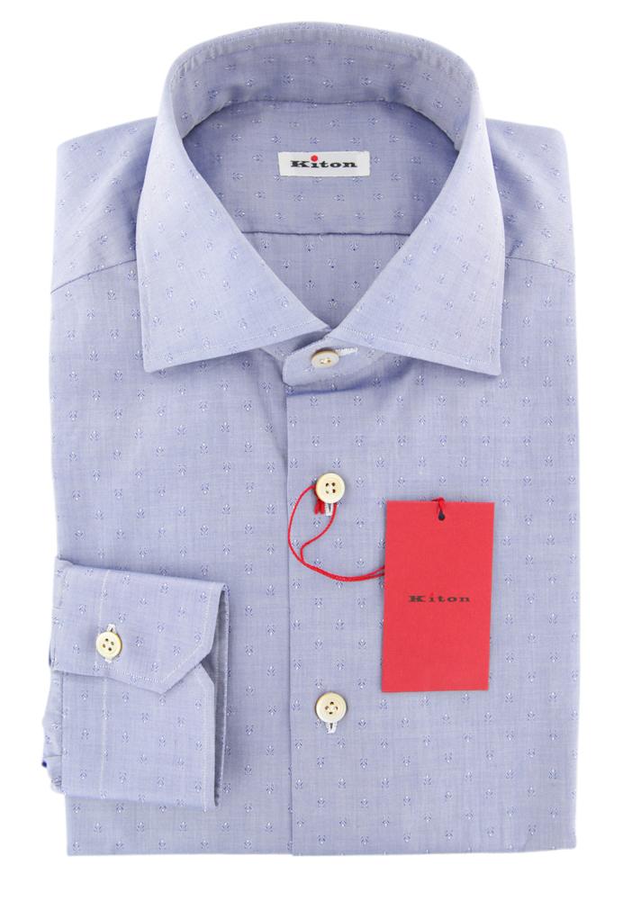 600 Kiton Blau Foulard Shirt - Slim - (KTUCC0567306)