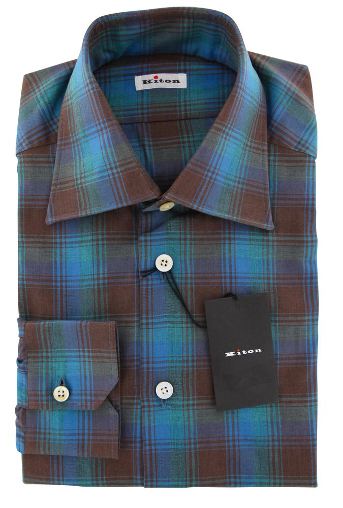 New  600 Kiton Turquoise Plaid Shirt - Slim - (KT1130175)